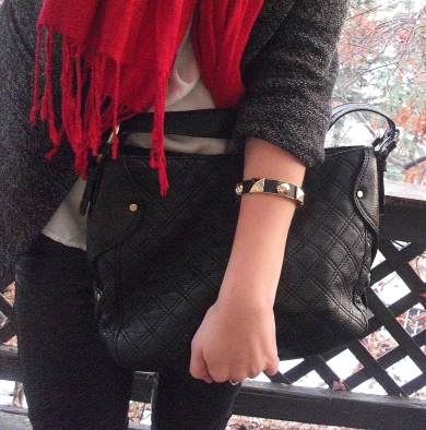 michael kors purse, studded gold bracelet