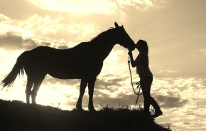 silhouette girl and horse on cliff top