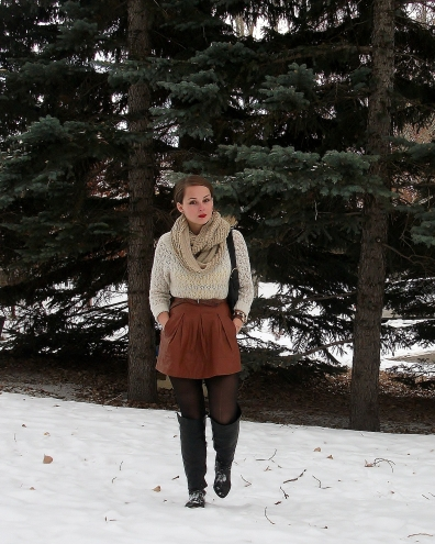 leather skirt cream sweater