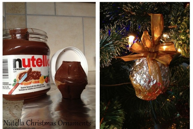 nutella filled chocolate, almond, walnut egg ornament