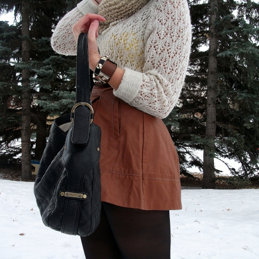 designer look for less- thrifted michael kors bag, knockoff hermes leather cuff, faux leather knockoff alice and olivia