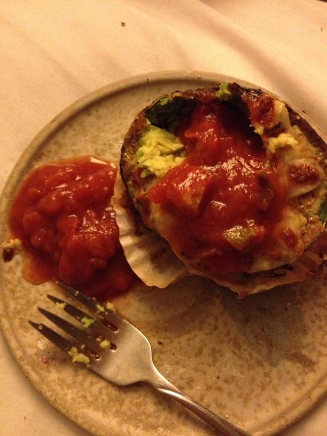 Top avocado omlette with salsa and enjoy