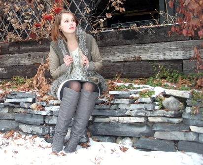 winter fashion, boots, vest, sweater dress