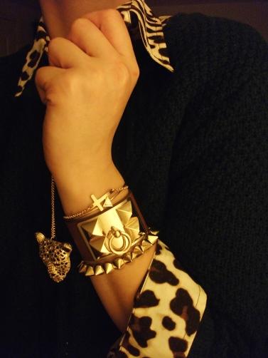 accessories -leopard pendant, bracelets - gold cross, arrow, leather cuff, gold studs