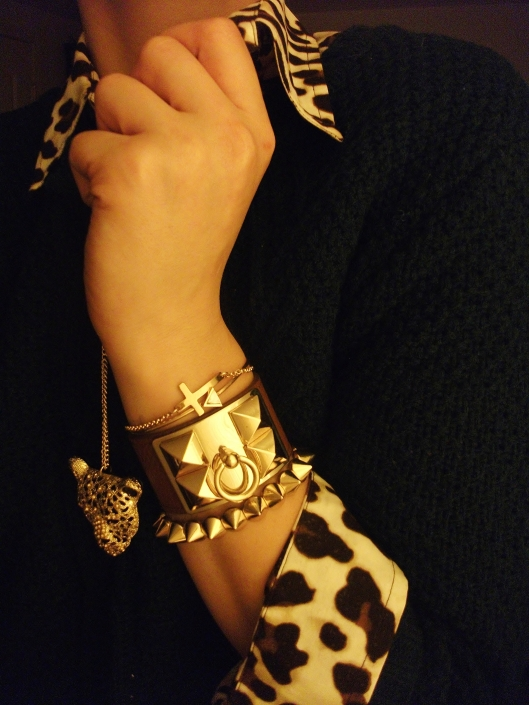 accessories -leopard pendant, bracelets - gold cross, arrow, hermes leather cuff, gold studs