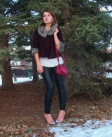 cropped fall jacket oxblood, fur trim, leather pants,