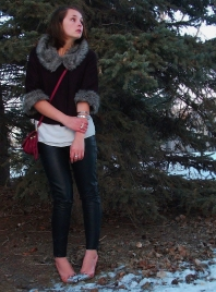 cropped fur trimmed jacket, basic tank, leather leggings, stillettos, stacked bracelets and a cross body bag