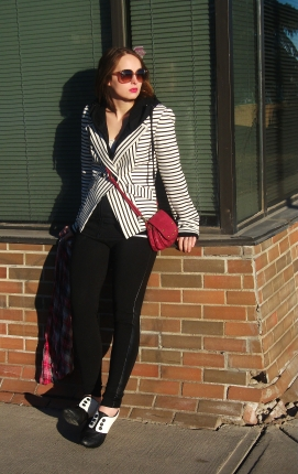 double breasted blazer, cross body bag