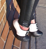 leather panels, black and white ankle boots