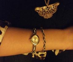 leopard gold pendant, braided bracelet, rosegold watch