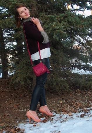 mat and nat pink cross body bag, bcbg heels, fur trimmed oxblood jacket