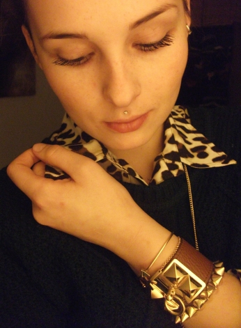 pop the collar - leopard, gold, green and cognac