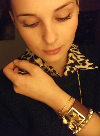 pop the collar - leopard, gold, green and cognac