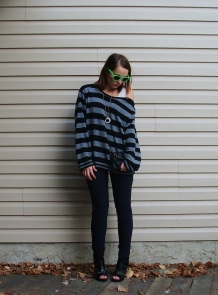 striped sweater studded clutch and heels