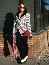 THINK PINK- annabelle twist ups lip color- kinky pink, le chateau pashmina, mat and nat cross body bag