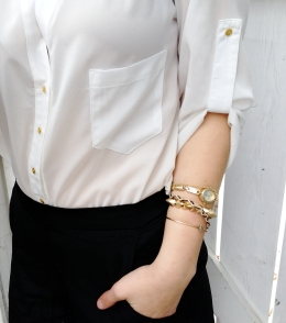 classic white chiffon button down with gold buttons, arm candy