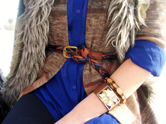 cobalt and cognac - multicolored braided leather belt, leather and hermes gold studded wrap, wooden bangle