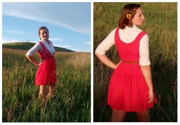 coral dress - day look