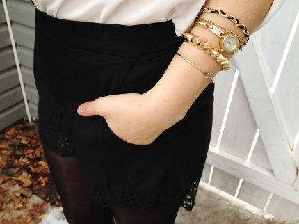 DETAILS - gold arm candy stacked bracelets, floral cut out silk shorts