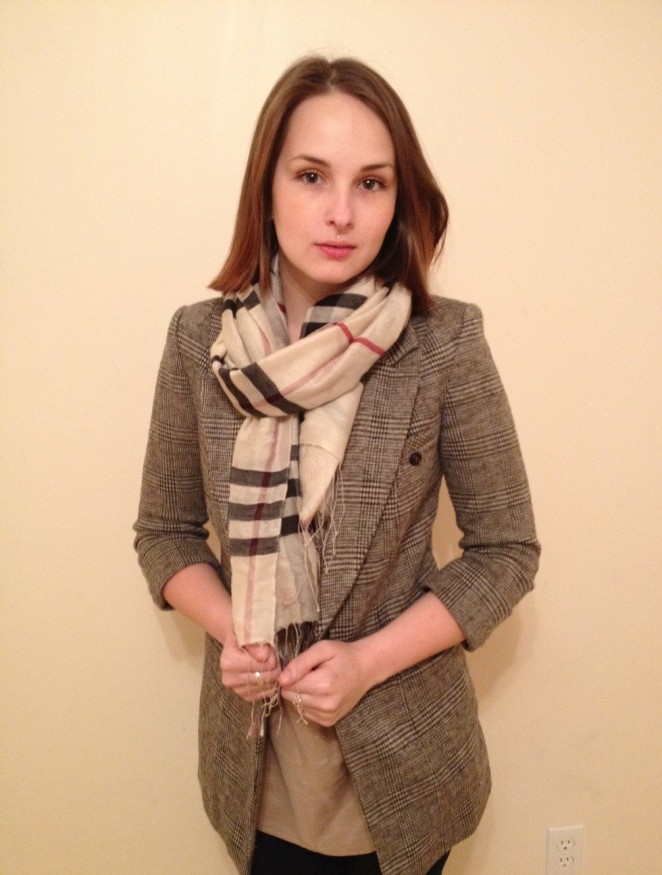 silk scarf and tank, wool blazer - le chateau