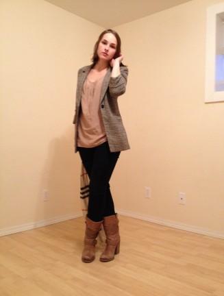 silk tank, wool blazer, dark denim, boots and a scarf