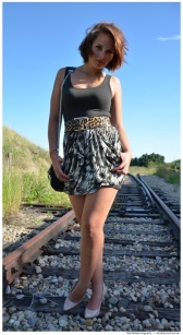 snakes and layers, tulip skirt layered over tank dress