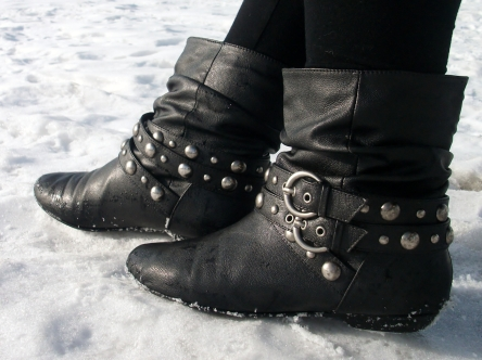 studded black leather ankle boots