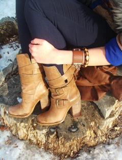 the details - jessica simpson leather boots, navy skinnies, studded leather cuff, wooden bangle