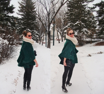 Double take - Emerald Green Tailored Cape by Steve Madden, Patent leather clutch and leggings, worn with an infinity scarf and classic top knot