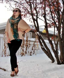 add a pop of color to an otherwise neutral outfit with a pashmina - warm and chic