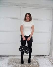 Black & White, peplum, leather, chanel