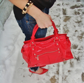 Bracelets and Bag by Aldo, Shoes by Guess, Denim by Mavi