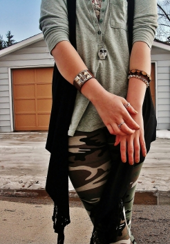 camo leggings and floral bralet, billabong henley, le chateau owl necklace, leather cuff and lace vest, aldo rings and bangles