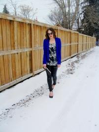 Cobalt blue kimono blazer, silk blouse and liquid leather leggings.