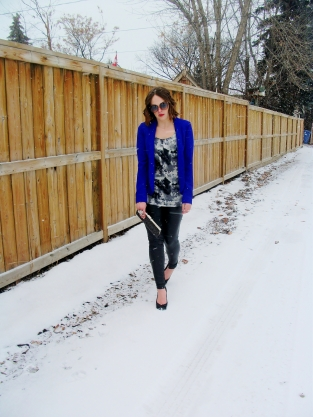 Cobalt blue kimono blazer, silk blouse and liquid leather leggings.