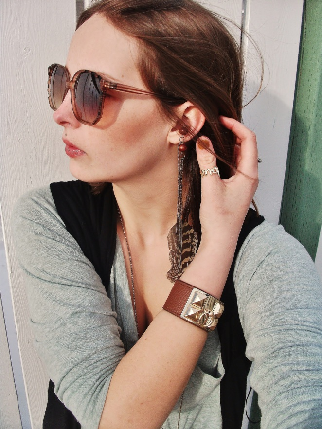 conch wooden feather earring, love ring, and hermes leather cuff