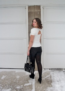 cut out back peplum top, leather shorts and tights, patent and suede wedges