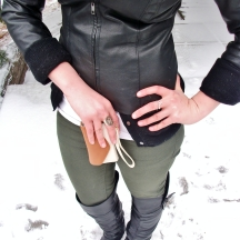 details- le chateau pashmeina, ring and leather jacket, zara cashmere cardigan, aldo iphone wallet, bluenotes olive skinnies, spring over the knee boots