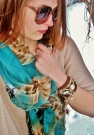 details - teal and leopard print and a DIY wrap watch
