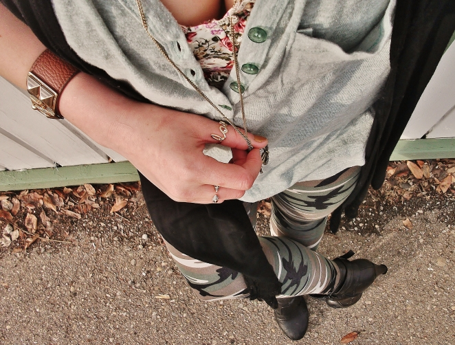 head to toe details - floral bralet and camo leggings by sirens, rings by aldo, jewelery and vest by le chateau, henly by billabong