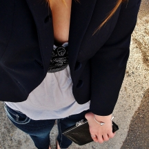 head to toe details - thrifted blazer, smart set blouse, bootlegger denim, le chatrau clutch and shoes, aldo bangle