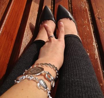 jewelry details and grey stillettos