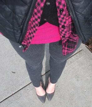 layering ideas - tank, cardigain, flannel, puffer, leggings, heels