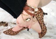 leopard print kitten heels, DIY leather and gold wrap charm watch