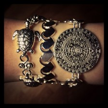 mayan calendar silver turtles and hearts arm candy