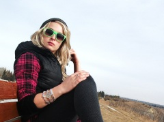 neons and blondes. stay warm in plaid and puffers