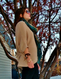 neutral chunky knit sweater with a doleman sleeve