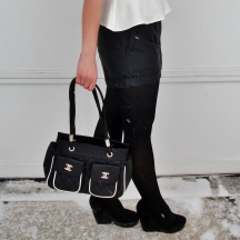 Patent and Suede Wedge Heels, leather shorts with tights, peplum and chanel