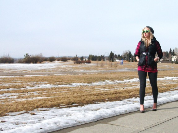 plaid and neons - puffer vest and a plaid button down with thermal leggings and heels