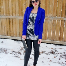 Stormy Skies- brighten up white and grey with a bright cobalt blazer for s13